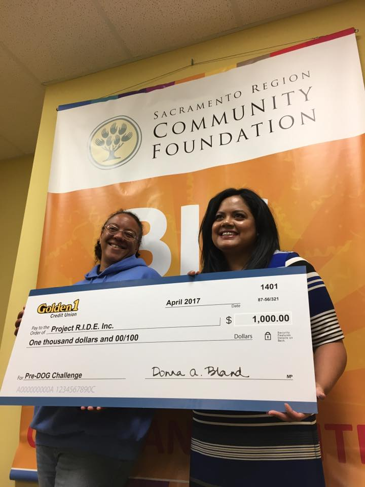 Golden 1 Credit Union presents $1,000 donation to Project RIDE for Big Day of Giving 2017