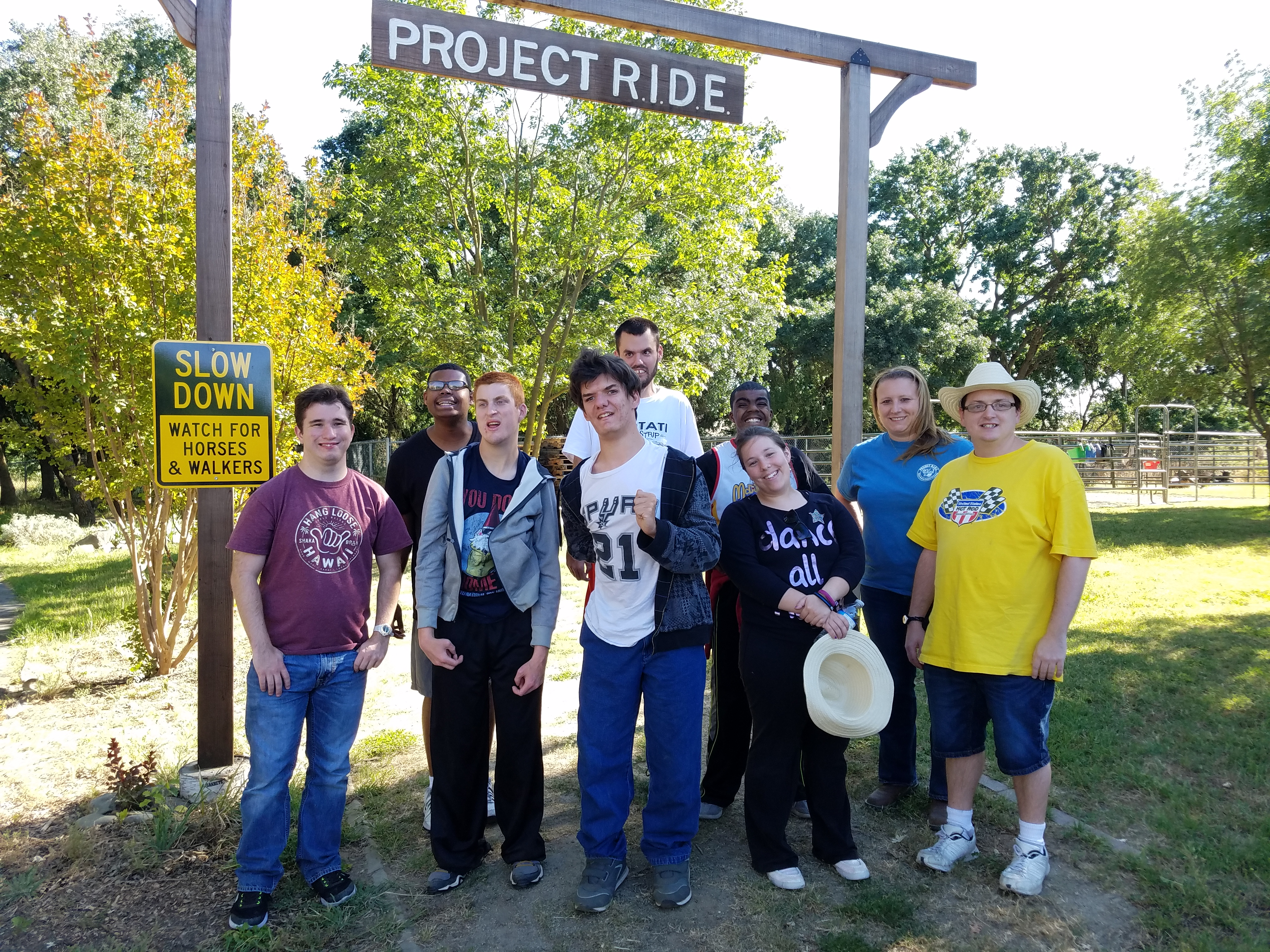 18up Club participants at the trailhead for Project RIDE