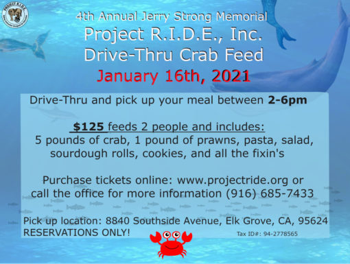 Project RIDE Annual Crab Feed Postcard 2021 - Get Your Tickets Here